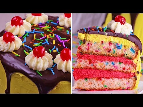 You'll go bananas for our chocolate covered banana split cake! | Cakes, Cupcakes & More by So Yummy