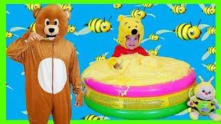 Marek Jr Super Fluffy Pool Full of DIY Slime   Giant Honey Slime Smoothie