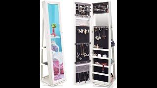 MIRROR TWING Jewelry Organizer Jewelry Cabinet 360 Rotating, Lockable Standing Wall Jewelry Armoire