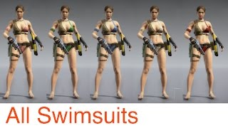 MGSV: Phantom Pain - All SwimSuits and Konami Added Items (Metal Gear Solid 5)