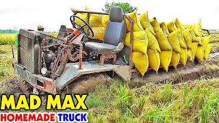 Crazy tractor self-made 4x4 tractor heavy load stuck in mud