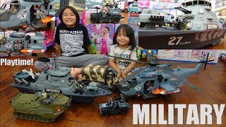 Military Toy Soldiers Playtime! A Battleship, Helicopter, Troop Transporter and More! Toy Channel