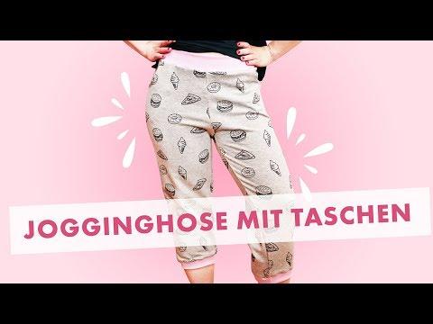 Jogginghose an der Overlock nähen - Gratis Schnitt für Damenhose mit Taschen