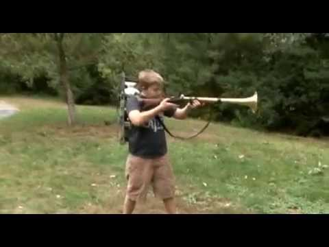 Father and son build a Trombone gun. Toot Toot!
