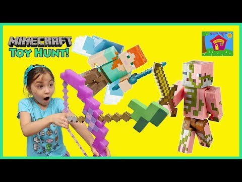 MINECRAFT Surprise Toys Hunt in Real Life   Kid Friendly Toy Review