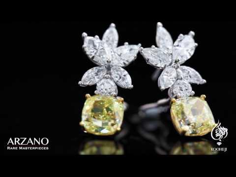 Kooheji Jewellery Yellow Diamond Earring From Arzano