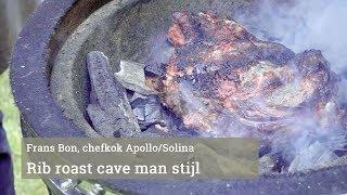 Rib roast op de barbecue, cave man stijl
