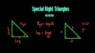 Special Right Triangles Lesson 45-45-90