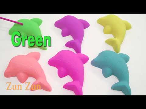 DIY Making Kinetic Sand Dolphin ! Learn-a-Word & Colors Blue, Purple, Yellow, Orange, Pink, Blue