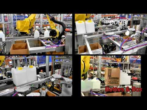 Empaque de cajas con Robot para galones con insertos y folletos