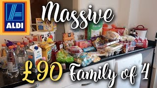 MASSIVE £90 ALDI HAUL - 2 WEEKS WORTH OF FOOD FAMILY OF 4 - MEAL PLANNING - LOTTE ROACH