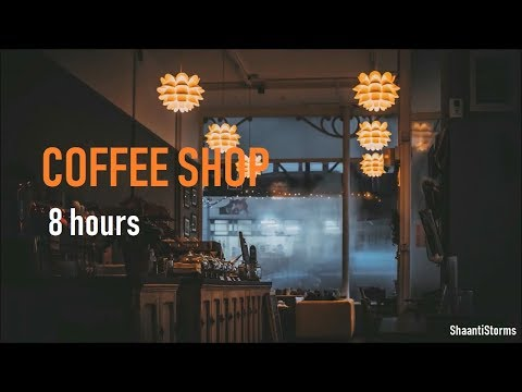 Rainy Day at the Coffee Shop Ambiance - 8 Hours of Rain, background chatter and Jazz Music
