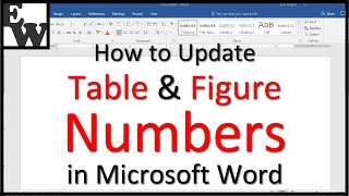 How to Update Table and Figure Numbers in Microsoft Word