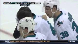 Hertl hit by puck while on the bench