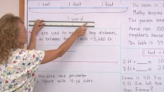 Learn about feet, yards, and miles - measurement lesson for 3rd grade math