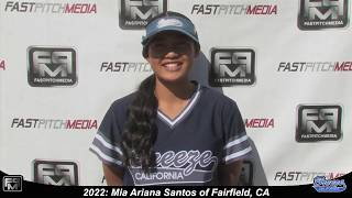 2022 Mia Ariana Santos Speedy Slapper, Outfield & 2nd Base Softball Skills Video - Ca Breeze Fernald