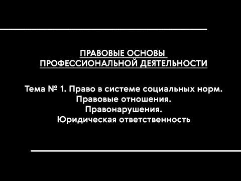 Правовые основы проф. деятельности. Лекция № 1