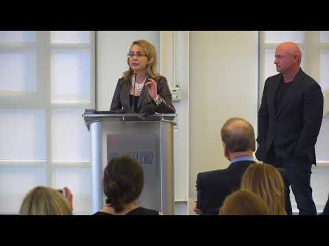 Gabby Giffords speaks on gun policy reform at Zimmerman fundraising event