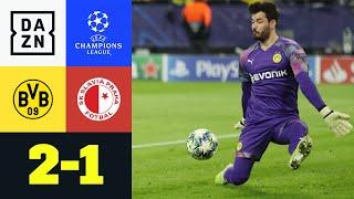 Achtelfinale! Borussia Dortmund schafft den Sprung unter die besten 16 Mannschaften Europas mit einem 2:1-Erfolg gegen Slavia Prag. Der Held des Spiels war jedoch Roman Bürki, der hielt was zu halten war.  ►Sichere dir deinen Gratismonat: https://bit.ly/2MY3pxi ►Alle Infos zur UEFA Champions League: https://bit.ly/2GD8lqf ►Das Programm von DAZN: http://bit.ly/2uFkulD ►DAZN auch auf Facebook: https://bit.ly/2lUGipo  +++ Die besten Fußball Highlights aus allen Wettbewerben auf YouTube +++ ►DAZN UEFA Champions League auf YouTube abonnieren: https://bit.ly/2WL75qD  ►DAZN UEFA Europa League auf YouTube abonnieren: https://bit.ly/2DTc8yb  ►DAZN Bundesliga auf YouTube abonnieren: https://bit.ly/2Daw8dS  ►DAZN Länderspiele auf YouTube abonnieren: https://bit.ly/2XAYNSd ►Goal auf YouTube abonnieren: https://bit.ly/2Bk4H0Y   +++ Die besten Sport Highlights auf YouTube +++ ►DAZN Tennis auf YouTube abonnieren: https://bit.ly/2DblEuK  ►DAZN Darts auf YouTube abonnieren: https://bit.ly/2ScVbqU    ►SPOX auf YouTube abonnieren: https://bit.ly/2MPaQqI   Erlebe tausende Sportevents in HD-Qualität auf allen Geräten. Auf DAZN gibt's europäischen Top-Fußball mit UEFA Champions League, UEFA Europa League, Premier League, Bundesliga-Highlights, La Liga, der Serie A und Ligue 1 sowie den besten US-Sport aus NFL, NBA, MLB und NHL. Dazu: Fight Sports, Darts, Tennis, Hockey und vieles mehr - wann und wo du willst.   ERLEBE DEINEN SPORT LIVE UND AUF ABRUF. AUF ALLEN GERÄTEN.   +++ Über DAZN +++   DAZN ist ein Livesport-Streamingdienst, der es Fans erlaubt, Sport so zu erleben, wie sie es möchten. Egal ob live zu Hause, unterwegs, zeitversetzt oder im Rückblick, DAZN bietet über 8.000 Sportübertragungen pro Jahr und beinhaltet damit das umfangreichste Sportangebot, das es jemals bei einem einzelnen Anbieter gegeben hat.   DAZN bietet einen Gratismonat, kostet danach 11,99 EUR monatlich und kann jederzeit monatlich gekündigt werden.   Registriere dich direkt und sicher dir deinen Gratismonat: ht
