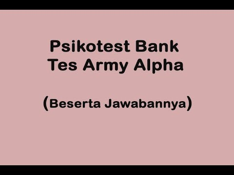 Tes Army Alpha - Psikotes Bank