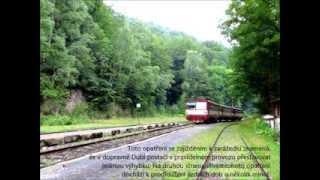 """Dubí, odjezd/příjezd osobního vlaku (jedoucího z Moldavy do Mostu) k/od """"šturcu"""", 8/2014"""