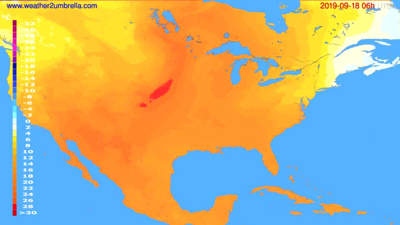 Temperature forecast USA & Canada // modelrun: 12h UTC 2019-09-15
