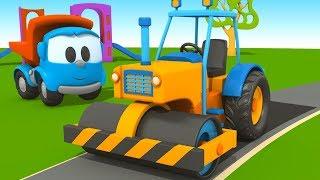 Cartoni Animati per Bambini - Leo il camion curioso e l'asfaltatrice!