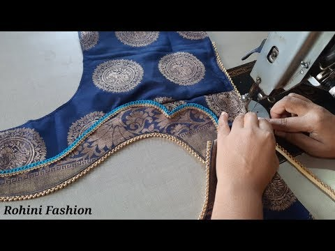 Beautiful patchwork blouse back neck design|cutting and stitching back neck