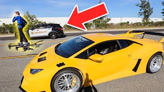 Lamborghini VS HoverBoard Aircraft Race (Cops Called)