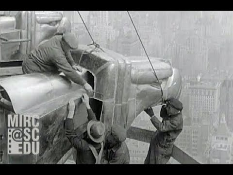 Old footage of guys 1000ft in the air with no safety gear working on the Chrysler Building in New York.