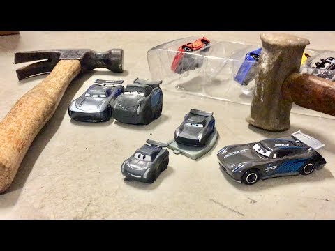 Disney Cars 3 Toys SMASHING JACKSON STORM - Breaking Fake Knock Off Disney Cars - Crushing Cars Toys