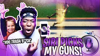 SIRI PICKS MY WEAPONS TO HELP 3RD GRADE KID WIN LEGENDARY SKINS! CRAZIEST DUOS VICTORY!