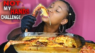 """DESHELLED SEAFOOD BOIL MUKBANG """"NOT MY HANDS CHALLENGE"""" DRENCHED IN ALFREDO SAUCE 