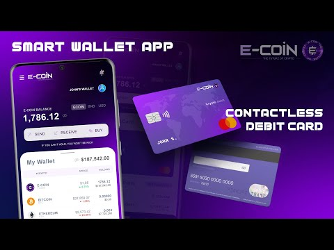 E-COIN Finance – Contactless Debit Card and Smart Wallet concept presentation – 4K