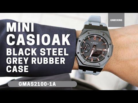 Mini CasiOak GMAS2100 Black Metal Bezel Fluorine Grey Rubber Watch Strap Length for Casio G-Shock GMAS2100