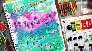 Happiness Journal Page with Mod Podge & Crayon Resist