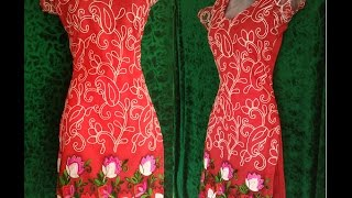 Ladies suite or Kurti with net drafting cutting and stitching