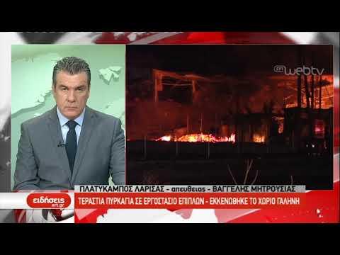 Πυρκαγιά σε εργοστάσιο επίπλων στο Πλατύκαμπο Λάρισας | 27/02/2019 | ΕΡΤ