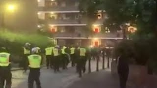 video: Police attacked with bricks and bottles at illegal party in west London