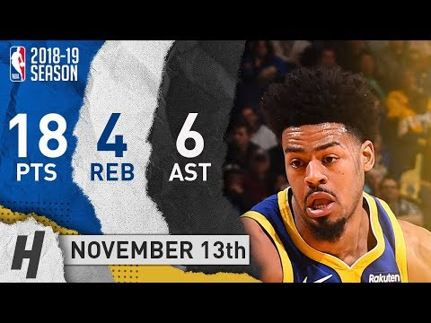 Quinn Cook Full Highlights Warriors vs Hawks 2018.11.13 - 18 Pts, 6 Ast, 4 Rebounds!