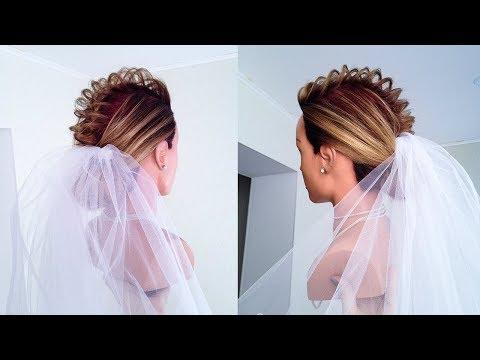 Свадебная прическа с ФАТОЙ на редкие короткие волосы.