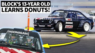 Ken Block Teaches His 13-Year-Old Daughter To Do Donuts... In The Gymkhana Ford Escort!