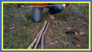 Смотреть онлайн Как легко сделать стульчик в полевых условиях