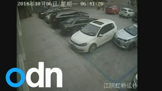Is this the world's worst driver? Man repeatedly hits parked car while reversing out of a space