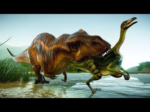 Herd of Acrocanthosaurus Hunting in Desert Environment - Jurassic World Evolution