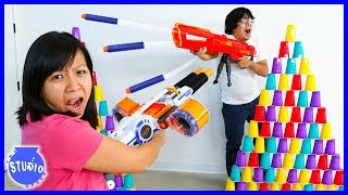 Nerf Battle Blasters Review Challenge and Target Practice !!