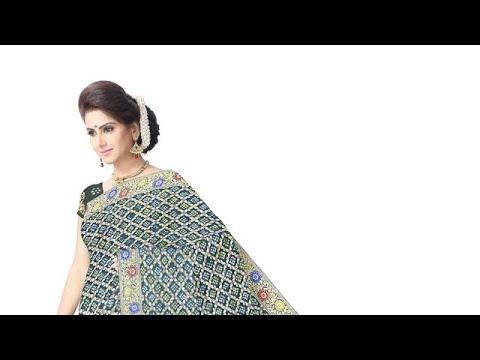 All Over Green Color Checks Design  Banarasi Georgette Saree