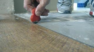 Самый эстетичный стык плитки и ламинат | Без порожка | Укладка ламината | пленочный теплый пол