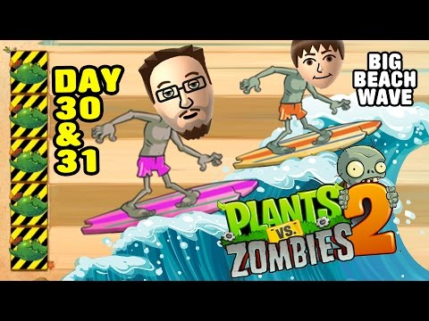 Lets Play PVZ 2: Big Wave Beach Day 30 & 31: Endangered Guacodiles