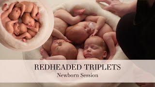 Redhead triplet newborn session with Macy, Toby & Sadie